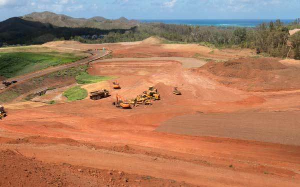 Bare dirt at Olomana Heights in August.